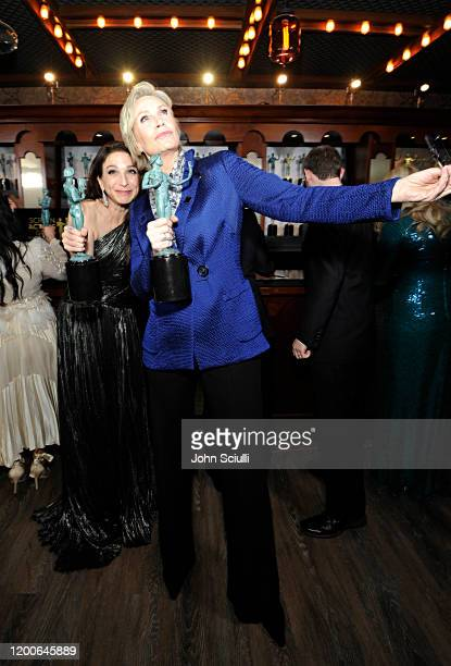 Marin Hinkle and Jane Lynch Winners of Outstanding Performance by an Ensemble in a Comedy Series for 'The Marvelous Mrs Maisel' pose in the trophy...