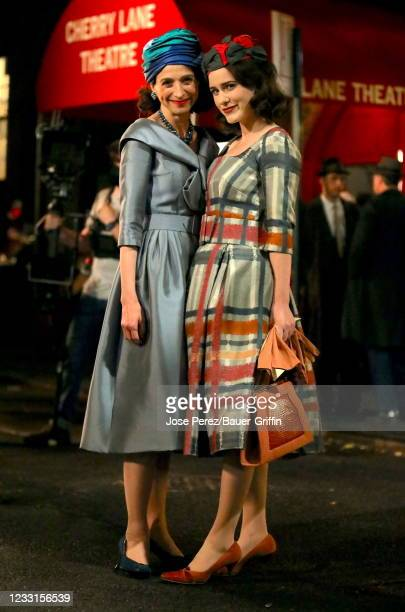 """Marin Hinkle and Rachel Brosnahan are seen on the set of """"The Marvelous Mrs Maisel"""" on May 27, 2021 in New York City."""
