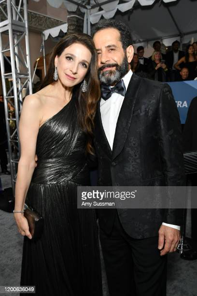 Marin Hinkle and Tony Shalhoub attend the 26th Annual Screen Actors Guild Awards at The Shrine Auditorium on January 19 2020 in Los Angeles California