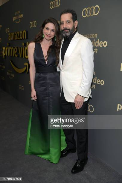 Marin Hinkle and Tony Shalhoub attend the Amazon Prime Video's Golden Globe Awards After Party at The Beverly Hilton Hotel on January 6 2019 in...