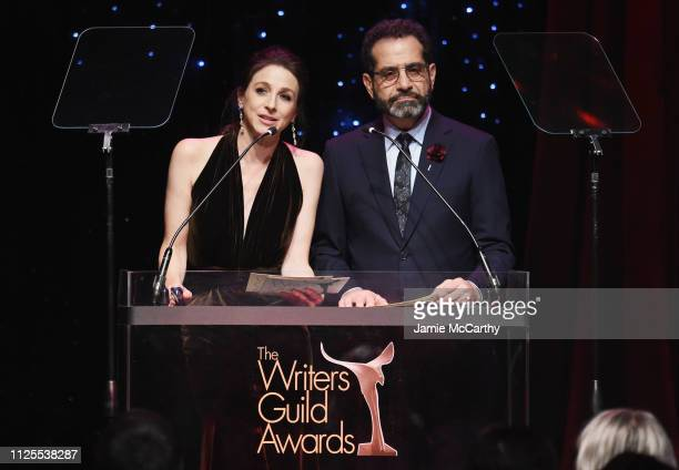 Marin Hinkle and Tony Shalhoub speak onstage during the 71st Annual Writers Guild Awards New York ceremony at Edison Ballroom on February 17 2019 in...