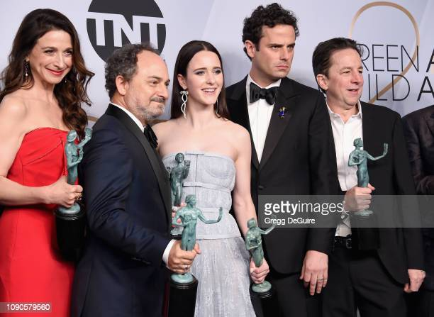 Marin Hinkle Kevin Pollak Rachel Brosnahan Luke Kirby and Brian Tarantina pose in the press room with awards for Outstanding Performance by an...