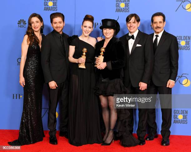 Marin Hinkle Michael Zegen Rachel Brosnahan Amy ShermanPalladino Daniel Palladino and Tony Shalhoub pose with the award for Best Television Series...