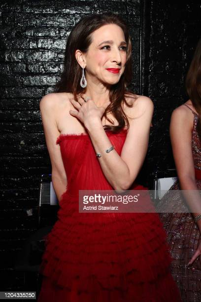 Marin Hinkle poses backstage at The American Heart Association's Go Red for Women Red Dress Collection 2020 at Hammerstein Ballroom on February 05...