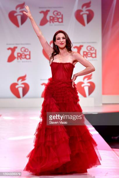 Marin Hinkle walks the runway at The American Heart Association's Go Red for Women Red Dress Collection 2020 at Hammerstein Ballroom on February 05...