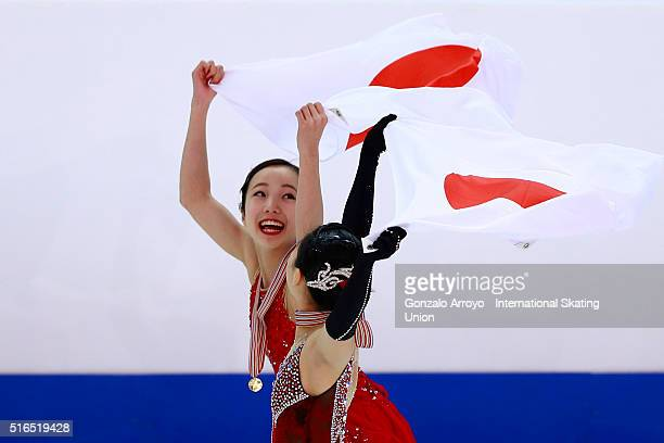 Marin Honda and Wakaba Higuchi celebrates their first and third place in the top three of the Ladie's Figure Skating program of the ISU World Junior...