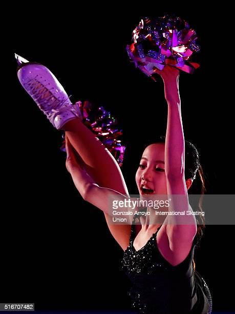 Marin Honda from Japan skates during the Exhibition program of the ISU World Junior Figure Skating Championships 2016 at The Fonix Arena on March 20...