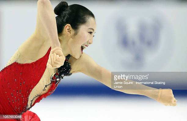 Marin Honda of Japan competes in the ladies short program during the ISU Grand Prix of Figure Skating Skate America on October 20 2018 in Everett...