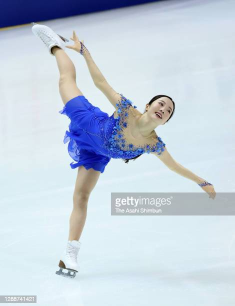 Marin Honda of Japan competes in the Ladies' Single Free Skating during day two of the ISU Grand Prix of Figure Skating NHK Trophy at Towa...