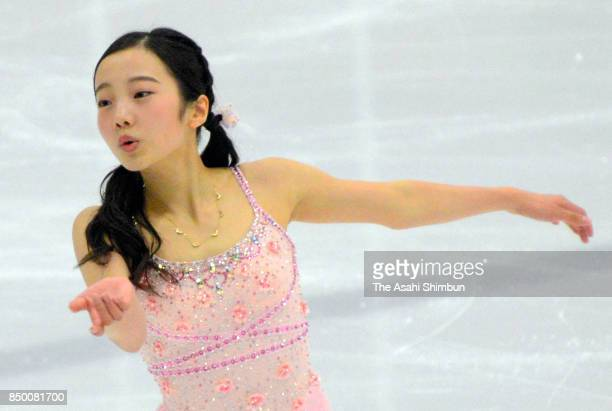 Marin Honda of Japan competes in the Ladies Singles Short Program during day two of the US International Figure Skating Classic at the SLC Sports...