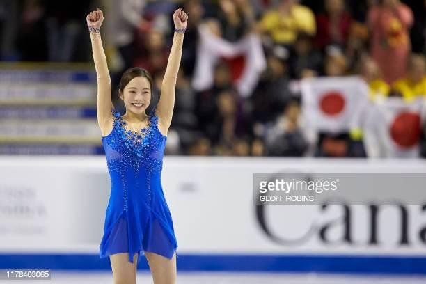 Marin Honda of Japan finishes her free skate at the 2019 Skate Canada International ISU Grand Prix event in Kelowna, Canada, on October 26, 2019.