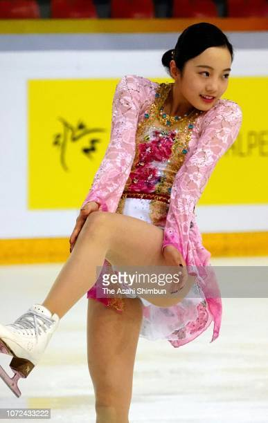 Marin Honda of Japan in action during a practice session prior to the Women's Singles Free Skating on day two of the ISU Grand Prix of Figure Skating...