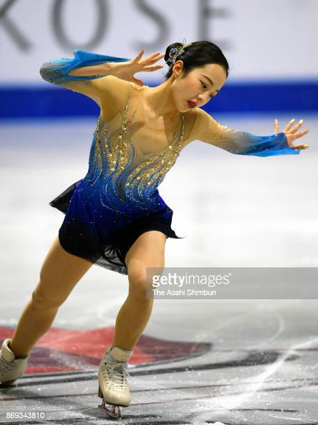 Marin Honda of Japan in action during a practice session prior to the Ladies Singles Free Skating during day two of the ISU Grand Prix of Figure...