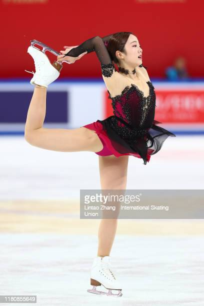 Marin Honda of Japan performs during the Ladies Short Program at the ISU Grand Prix of Figure Skating Cup of China at Huaxi Sports Center on November...