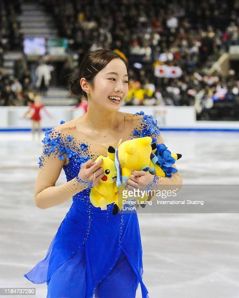 Marin Honda of Japan performs in the ladies free skating during the ISU Grand Prix of Figure Skating Canada on October 26, 2019 at Prospera Place in...