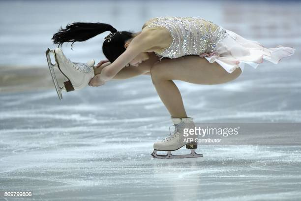 Marin Honda of Japan performs in the Ladies Short Program at the Cup of China ISU Grand Prix of Figure Skating in Beijing on November 32017 / AFP...