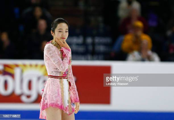 Marin Honda of Japan reacts after a program with several falls during Ladies Free Skating on day three of the 2018 ISU Grand Prix of Figure Skating...