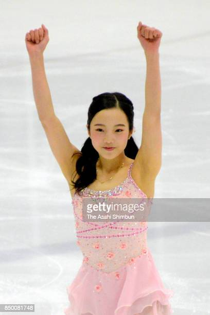 Marin Honda of Japan reacts after competing in the Ladies Singles Short Program during day two of the US International Figure Skating Classic at the...