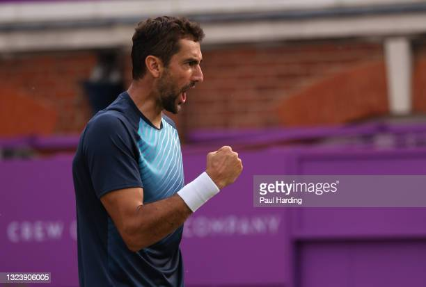 Marin Čilić of Croatia celebrates match point during his Round of 16 match against Fabio Fognini of Italy during Day 3 of The cinch Championships at...