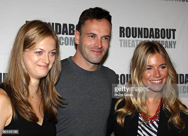 Marin Ireland Jonny Lee Miller and Sienna Miller attend the 'After Miss Julie' Broadway cast photo call on September 8 2009 in New York City