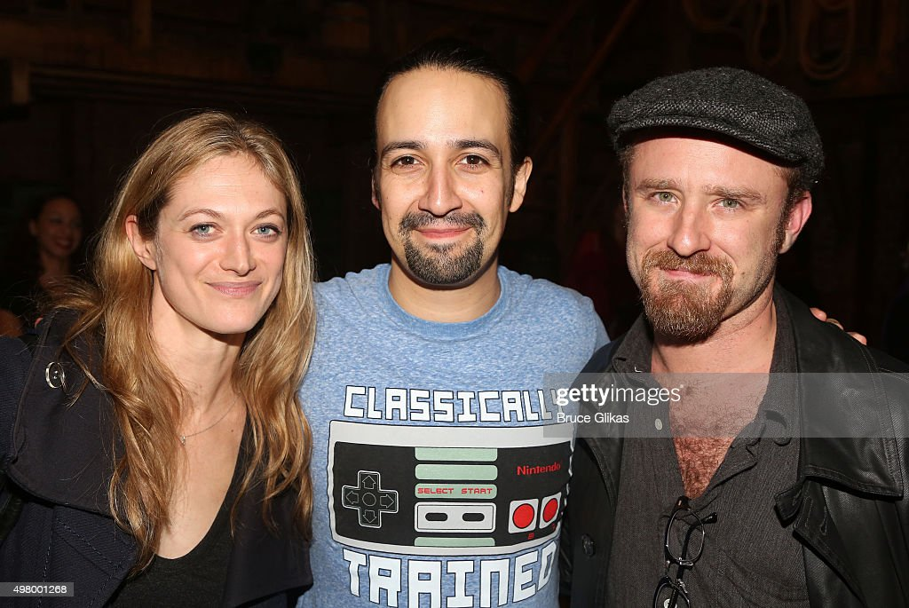 Marin Ireland, Lin-Manuel Miranda and Ben Foster pose backstage at the hit musical 'Hamilton' on Broadway at The Richard Rogers Theater on November 19, 2015 in New York City.