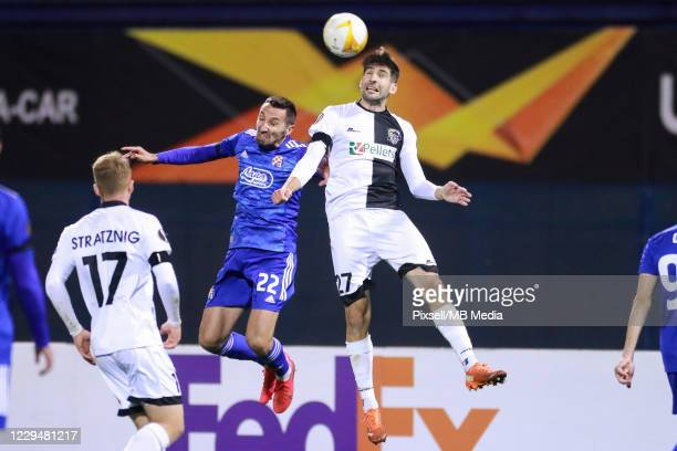 Marin Leovac of Dinamo Zagreb and Michael Novak of Wolfsberger during the UEFA Europa League Group K stage match between Dinamo Zagreb and...