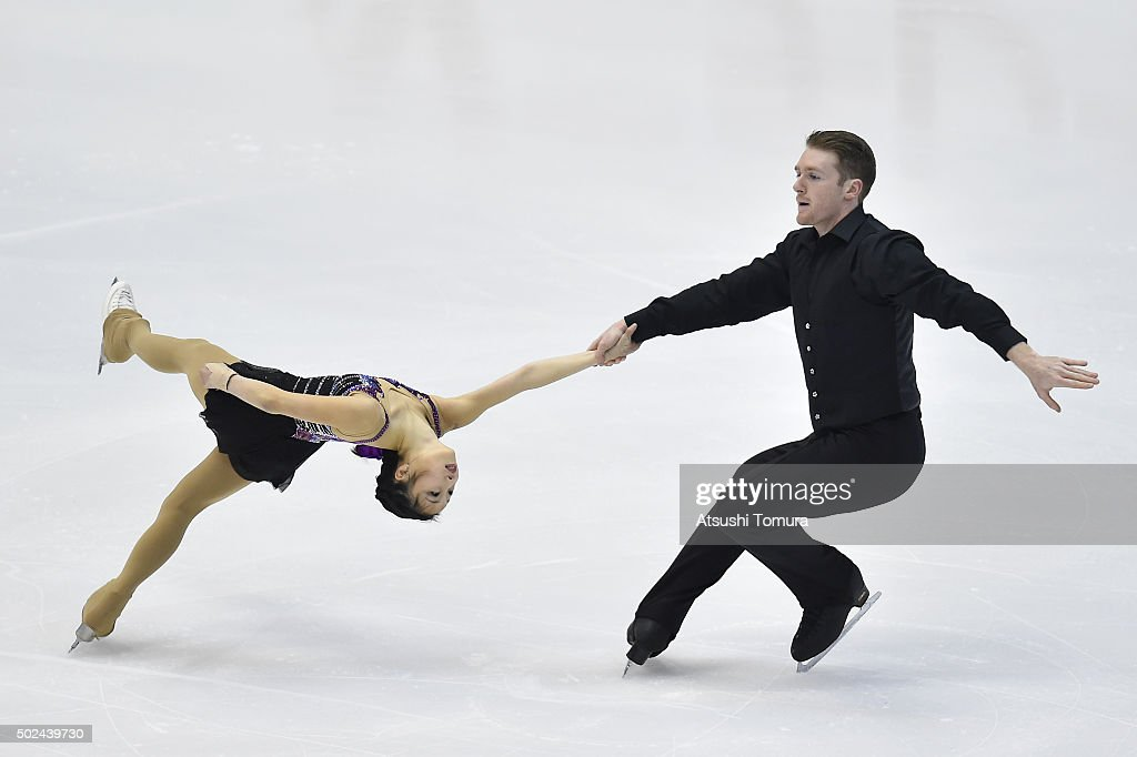 Marin Ono and Wesley Killing of Japan compete in the Pair short program during the day one of the 2015 Japan Figure Skating Championships at the Makomanai Ice Arena on December 25, 2015 in Sapporo, Japan.