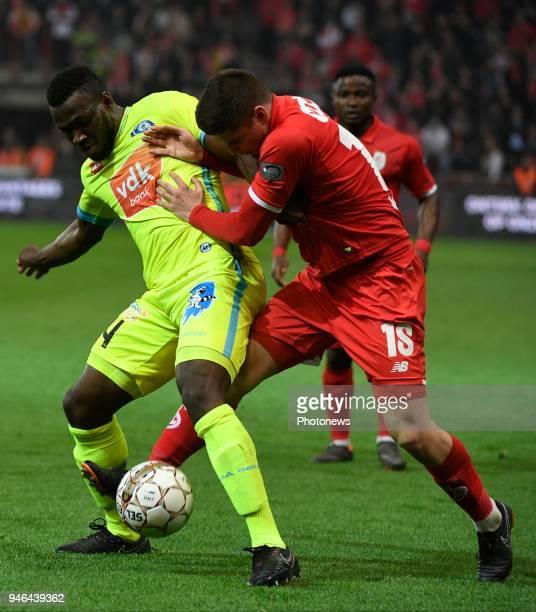 Marin Razvan midfielder of Standard Liege and Anderson Esiti midfielder of KAA Gent in duel during the Jupiler Pro League play off 1 match between R...