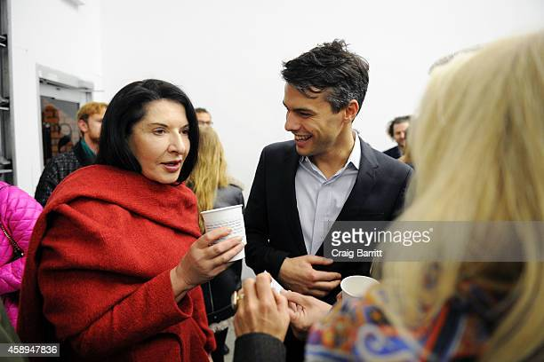 Marina Abramaovic and Simon Castets attend the Swiss Institute launch celebration of Hans Ulrich Obrist's new book Ways Of Curating on November 13...