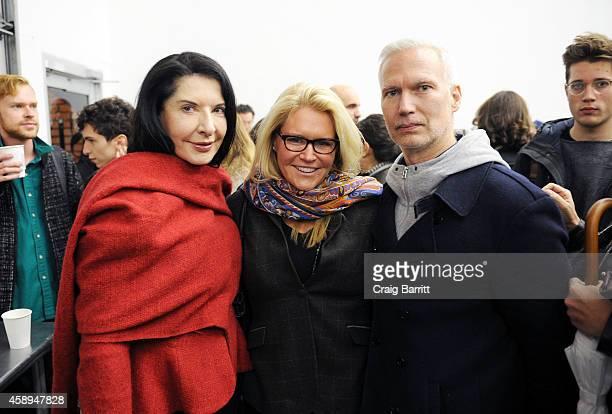 Marina Abramaovic Jennifer McSweeney and Klaus Biesenbach attend the Swiss Institute launch celebration of Hans Ulrich Obrist's new book Ways Of...