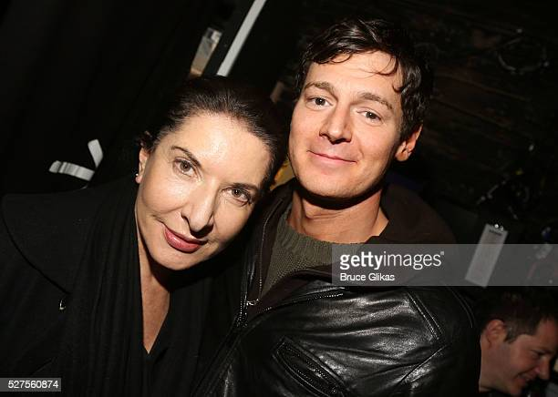 "Marina Abramovic and Benjamin Walker pose backstage at the hit musical based on the cult film ""American Psycho"" on Broadway at The Schoenfeld Theatre..."