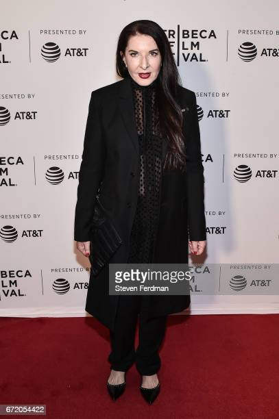 """Marina Abramovic attends """"Blurred Lines: Inside the Art World"""" Premiere at Cinepolis Chelsea on April 23, 2017 in New York City."""