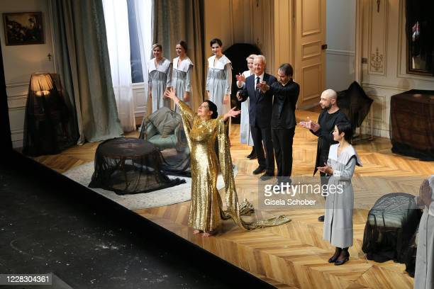 "Marina Abramovic, wearing a dress by Burberry, Petter Skavlan, Conductor Yoel Gamzou during the season opening and world premiere of the opera ""7..."