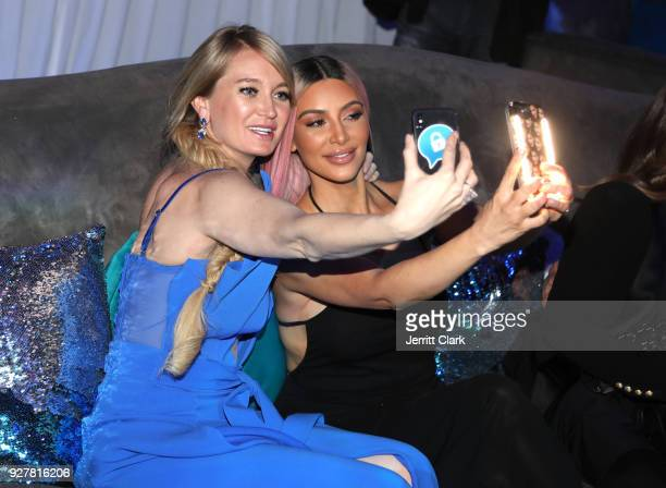 Marina Acton and Kim Kardashian take a selfie at the release of Marina Acton's new single Fantasize at Boulevard3 on March 5 2018 in Hollywood...