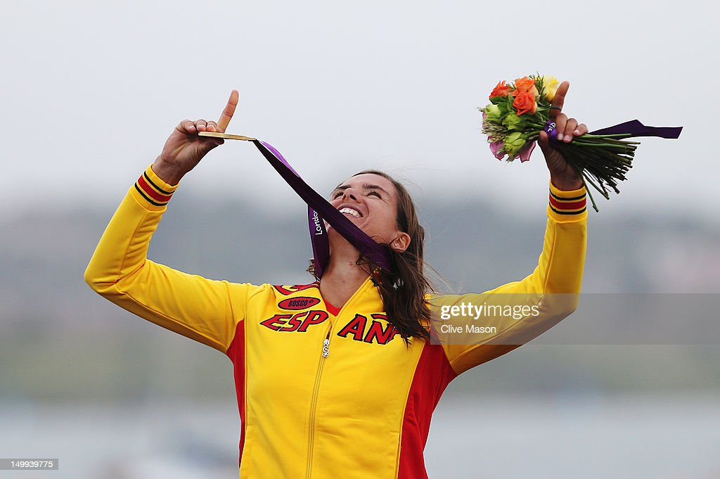 Marina Alabau Neira of Spain celebrates winning the gold medal in the