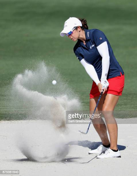 Marina Alex of the United States plays a shot from a bunker on the sixth hole during round two of the CME Group Tour Championship at the Tiburon Golf...