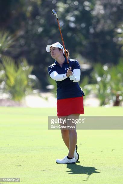 Marina Alex of the United States plays a shot on the second hole during round two of the CME Group Tour Championship at the Tiburon Golf Club on...