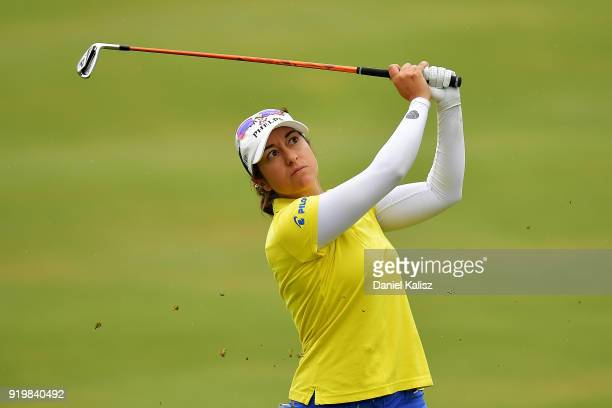 Marina Alex of the United states plays her second shot on the first hole during day four of the ISPS Handa Australian Women's Open at Kooyonga Golf...