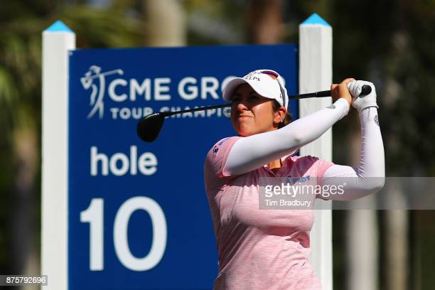 Marina Alex of the United States plays her shot from the tenth tee during round three of the CME Group Tour Championship at the Tiburon Golf Club on...