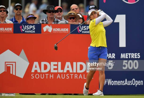 Marina Alex of the United states tees off on the first hole during day four of the ISPS Handa Australian Women's Open at Kooyonga Golf Club on...