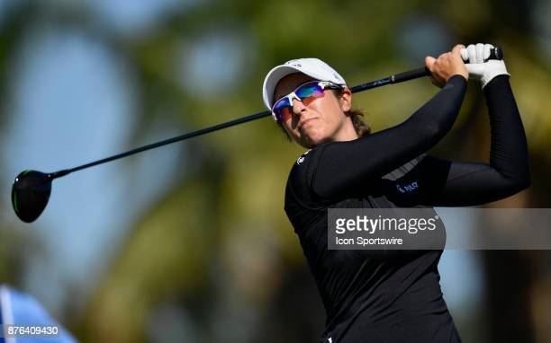 Marina Alex of the United States tees off on the ninth hole during the final round of the LPGA CME Group Championship at Tiburon Golf Club on...