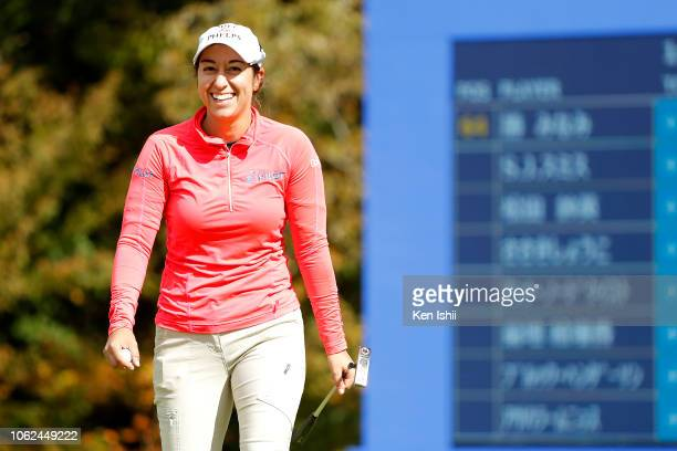 Marina Alex of United States smiles on the 18th green during the first round of the TOTO Japan Classic at Seta Golf Course on November 02 2018 in...