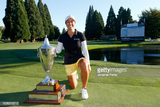 Marina Alex poses with the trophy after her victory during the final round of the LPGA Cambia Portland Classic at Columbia Edgewater Country Club on...