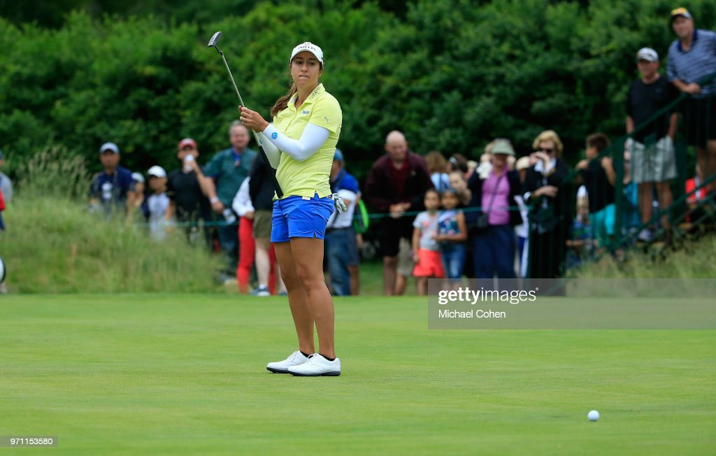 Marina Alex reacts to her missed eagle putt on the 18th green during the third and final round of the ShopRite LPGA Classic Presented by Acer on the Bay Course at Stockton Seaview Hotel and Golf Club on June 10, 2018 in Galloway, New Jersey.