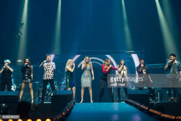 Marina Ana Roy Nerea Mireya Mimi Aitana Alfred and Cepedal of Operacion Triunfo perform on stage during the concert rehearsal at Palau Sant Jordi on...