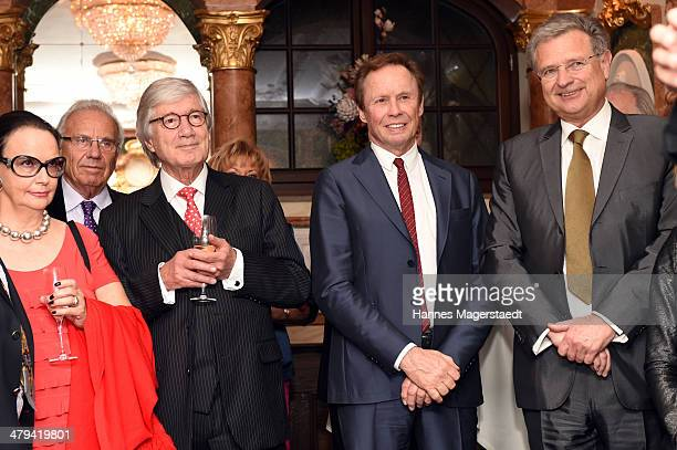 Marina and Christian Wolff Peter Kraus and Herbert Fechter attend the Peter Kraus 75th Birthday party at Suedtiroler Stuben on March 18 2014 in...