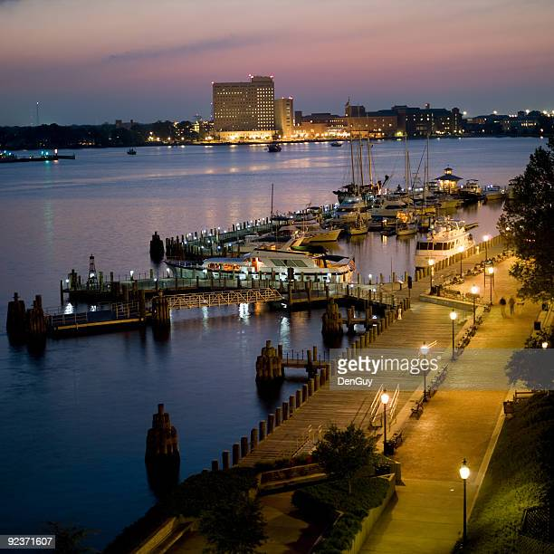 marina and harbor at norfolk, virginia dusk - norfolk virginia stock photos and pictures