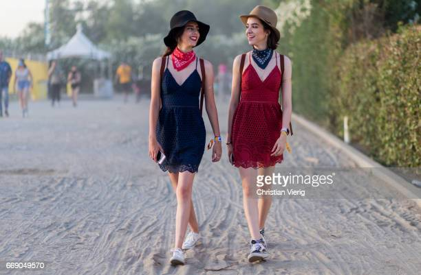 Marina and Nadia wearing bandana hats dress during day 2 of the 2017 Coachella Valley Music Arts Festival Weekend 1 on April 15 2017 in Indio...