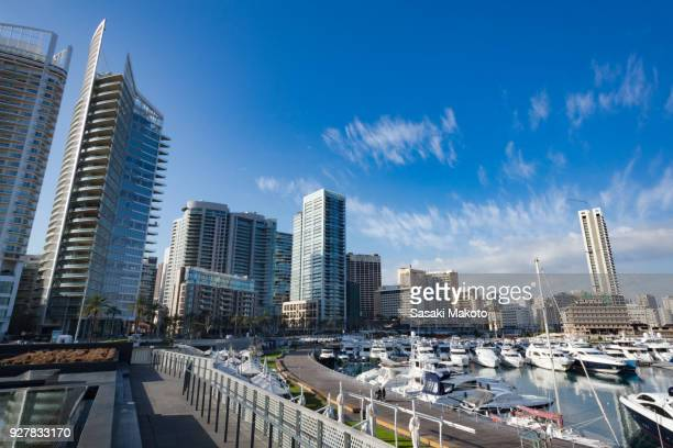 marina and skyscrapers on sunny day - beirut stock pictures, royalty-free photos & images