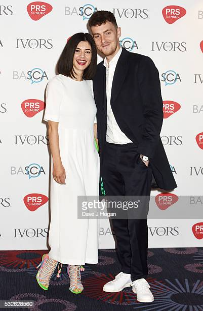 Marina and the Diamonds and a guest arrive for the Ivor Novello Awards at Grosvenor House on May 19 2016 in London England